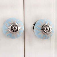 IndianShelf Handmade 7 Piece Ceramic Turquoise Etched Designer Drawer Door Knobs/Cabinet Pulls