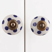 IndianShelf Handmade 7 Piece Ceramic White Polka Dot Designer Drawer Door Knobs/Cabinet Pulls