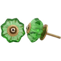 IndianShelf Handmade 7 Piece Glass Green Marigold Flower Vintage Furniture Drawer Knobs/Wardrobe Door Pulls