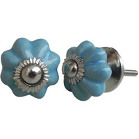 IndianShelf Handmade 7 Piece Ceramic Blue Solid Designer Drawer Door Knobs/Cabinet Pulls