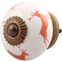 IndianShelf Handmade 9 Piece Ceramic Peach Running Rein Deer Kid Rust Free Drawer Kitchen Knobs/Cabinet Pulls