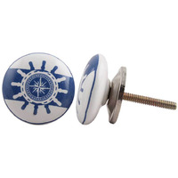 IndianShelf Handmade 9 Piece Ceramic Blue Ship Wheel Kid Flat Antique Look Drawer Room Knobs/Dresser Door Pulls