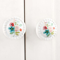 IndianShelf Handmade 9 Piece Ceramic Multicolor Flower Flat Rust Free Drawer Kitchen Knobs/Cabinet Pulls