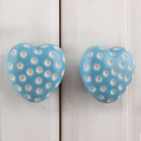 IndianShelf Handmade 9 Piece Ceramic Turquoise Heart Etched Rust Free Drawer Kitchen Knobs/Cabinet Pulls