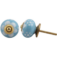 IndianShelf Handmade 9 Piece Ceramic Blue Flower Vintage Dresser Knobs/Cabinet Kitchen Pulls