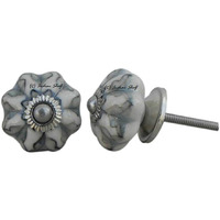IndianShelf Handmade 9 Piece Ceramic Grey Floral Rust Free Drawer Kitchen Knobs/Cabinet Pulls