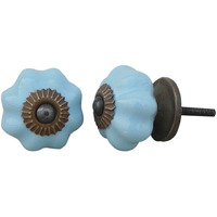 IndianShelf Handmade 9 Piece Ceramic Blue Solid Antique Look Drawer Room Knobs/Dresser Door Pulls