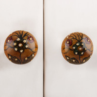 IndianShelf Handmade 9 Piece Ceramic Mustard Floral Bulb Shape Rust Free Drawer Kitchen Knobs/Cabinet Pulls