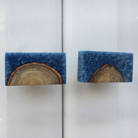 IndianShelf Handmade 9 Piece Resin Blue Rectangle Rust Free Drawer Kitchen Knobs/Cabinet Pulls