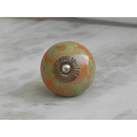 IndianShelf Handmade 9 Piece Ceramic Green Floral Rust Free Drawer Kitchen Knobs/Cabinet Pulls