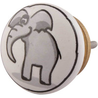 IndianShelf Handmade 11 Piece Ceramic Grey Elephant Flat Kid Vintage Furniture Drawer Knobs/Wardrobe Door Pulls