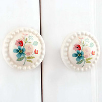 IndianShelf Handmade 11 Piece Ceramic Multicolor Flower Flat Designer Drawer Door Knobs/Cabinet Pulls
