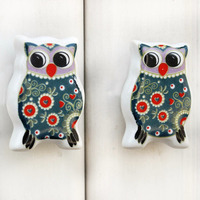 IndianShelf Handmade 11 Piece Ceramic Multicolor Owl Fauna Flat Designer Drawer Door Knobs/Cabinet Pulls