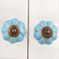 IndianShelf Handmade 11 Piece Ceramic Turquoise Melon Solid Designer Drawer Door Knobs/Cabinet Pulls