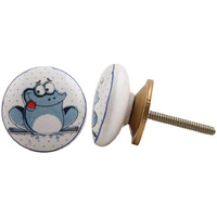 IndianShelf Handmade 11 Piece Ceramic White Frog Kid Designer Drawer Door Knobs/Cabinet Pulls