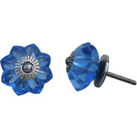 IndianShelf Handmade 11 Piece Glass Blue Marigold Flower Artistic Dresser Knobs/Cabinet Door Pulls