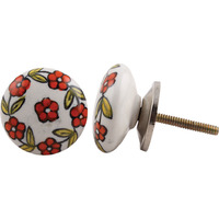 IndianShelf Handmade 11 Piece Ceramic Orange Floral Flat Vintage Furniture Drawer Knobs/Wardrobe Door Pulls