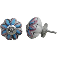 IndianShelf Handmade 11 Piece Ceramic Multicolor Osteospermum Floral Designer Drawer Door Knobs/Cabinet Pulls
