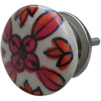 IndianShelf Handmade 11 Piece Ceramic Red Flower Flat Artistic Dresser Knobs/Cabinet Door Pulls