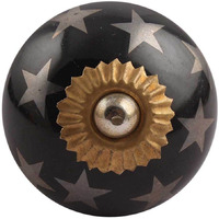 IndianShelf Handmade 13 Piece Ceramic Black Star Vintage Dresser Knobs/Cabinet Kitchen Pulls