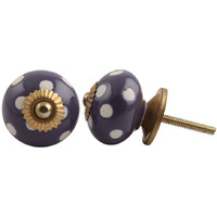 IndianShelf Handmade 13 Piece Ceramic Purple Polka Dot Etched Vintage Dresser Knobs/Cabinet Kitchen Pulls