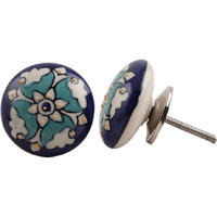 IndianShelf Handmade 13 Piece Ceramic Multicolor Flat Flat Antique Look Drawer Room Knobs/Dresser Door Pulls
