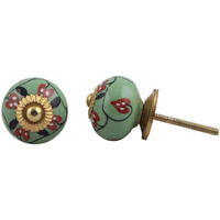 IndianShelf Handmade 13 Piece Ceramic Green Flower Vintage Dresser Knobs/Cabinet Kitchen Pulls