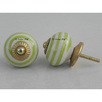 IndianShelf Handmade 13 Piece Ceramic Green Stripe Vintage Dresser Knobs/Cabinet Kitchen Pulls