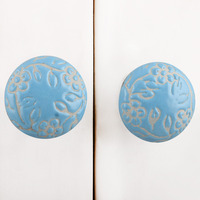 IndianShelf Handmade 13 Piece Ceramic Turquoise Flat Etched Rust Free Drawer Kitchen Knobs/Cabinet Pulls