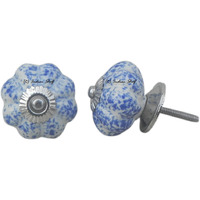 IndianShelf Handmade 13 Piece Ceramic Blue Calico Melon Rust Free Drawer Kitchen Knobs/Cabinet Pulls