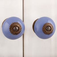 IndianShelf Handmade 13 Piece Ceramic Blue Solid Rust Free Drawer Kitchen Knobs/Cabinet Pulls