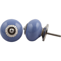 IndianShelf Handmade 13 Piece Ceramic Blue Solid Antique Look Drawer Room Knobs/Dresser Door Pulls