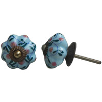 IndianShelf Handmade 13 Piece Ceramic Blue Floral Rust Free Drawer Kitchen Knobs/Cabinet Pulls