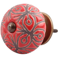 IndianShelf Handmade 15 Piece Ceramic Red Floral Etched Artistic Dresser Knobs/Cabinet Door Pulls