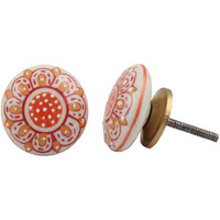 IndianShelf Handmade 15 Piece Ceramic Orange Floral Flat Vintage Furniture Drawer Knobs/Wardrobe Door Pulls