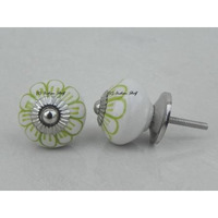 IndianShelf Handmade 15 Piece Ceramic Green Flower Artistic Dresser Knobs/Cabinet Door Pulls