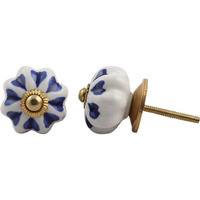 IndianShelf Handmade 15 Piece Ceramic Blue Heart Vintage Furniture Drawer Knobs/Wardrobe Door Pulls
