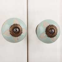 IndianShelf Handmade 15 Piece Ceramic Green Etched Designer Drawer Door Knobs/Cabinet Pulls