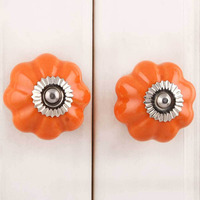 IndianShelf Handmade 15 Piece Ceramic Orange Melon Solid Designer Drawer Door Knobs/Cabinet Pulls