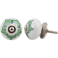IndianShelf Handmade 15 Piece Ceramic Green Lisianthus Vintage Furniture Drawer Knobs/Wardrobe Door Pulls