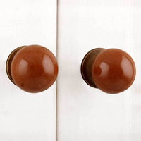 IndianShelf Handmade 15 Piece Ceramic Brown Solid Designer Drawer Door Knobs/Cabinet Pulls