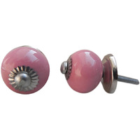 IndianShelf Handmade 15 Piece Ceramic Pink Solid Designer Drawer Door Knobs/Cabinet Pulls