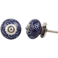 IndianShelf Handmade 17 Piece Ceramic Blue Floral Antique Look Drawer Room Knobs/Dresser Door Pulls
