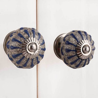 IndianShelf Handmade 17 Piece Ceramic Blue Wheel Crackle Rust Free Drawer Kitchen Knobs/Cabinet Pulls
