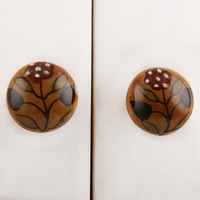 IndianShelf Handmade 17 Piece Ceramic Mustard Dotted Floral Bulb Shape Rust Free Drawer Kitchen Knobs/Cabinet Pulls