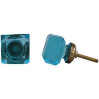 IndianShelf Handmade 17 Piece Glass Turquoise Square Rust Free Drawer Kitchen Knobs/Cabinet Pulls