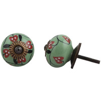 IndianShelf Handmade 19 Piece Ceramic Green Flower Artistic Dresser Knobs/Cabinet Door Pulls