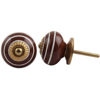 IndianShelf Handmade 19 Piece Ceramic Cherry Stripe Vintage Furniture Drawer Knobs/Wardrobe Door Pulls