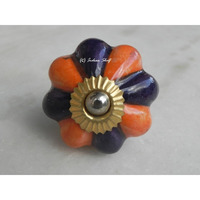 IndianShelf Handmade 19 Piece Ceramic Orange Floral Artistic Dresser Knobs/Cabinet Door Pulls