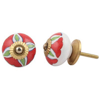 IndianShelf Handmade 19 Piece Ceramic Red Hibiscus Designer Drawer Door Knobs/Cabinet Pulls